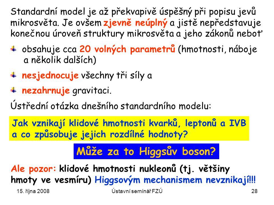 15. října 2008Ústavní semínář FZÚ28 Jak vznikají klidové hmotnosti kvarků, leptonů a IVB a co způsobuje jejich rozdílné hodnoty? Standardní model je a