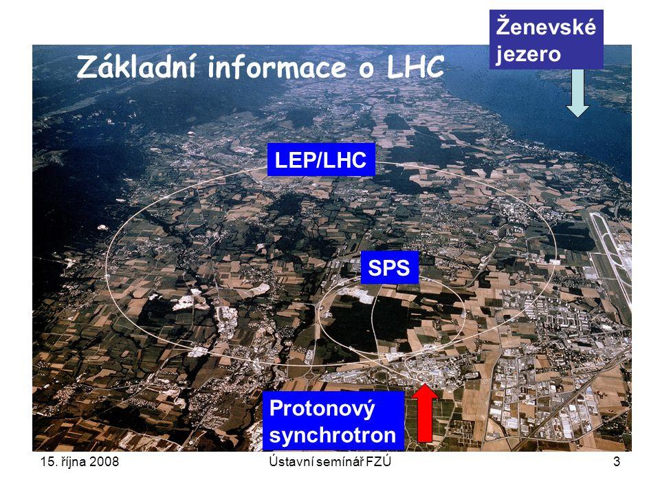 15. října 2008Ústavní semínář FZÚ3 Protonový synchrotron SPS LEP/LHC Ženevské jezero Základní informace o LHC