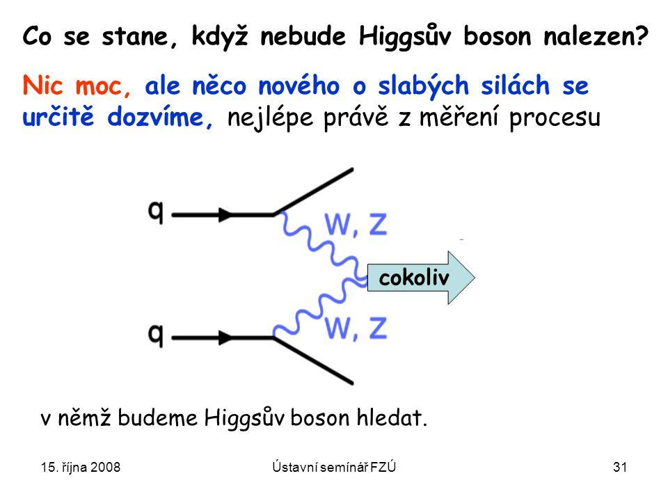 15. října 2008Ústavní semínář FZÚ31 Co se stane, když nebude Higgsův boson nalezen? Nic moc, ale něco nového o slabých silách se určitě dozvíme, nejlé