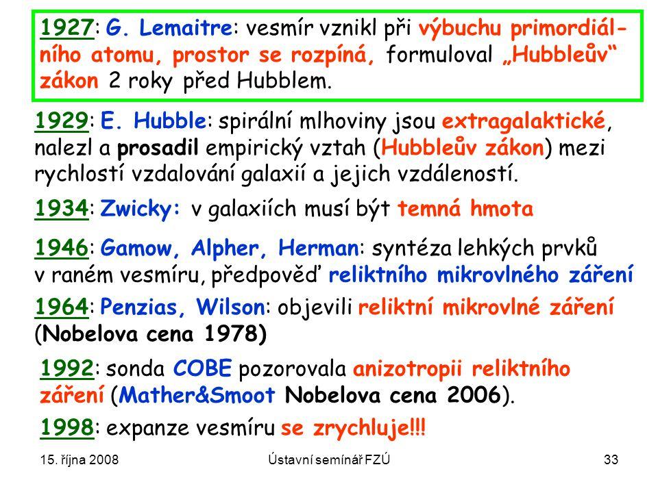 15. října 2008Ústavní semínář FZÚ33 1964: Penzias, Wilson: objevili reliktní mikrovlné záření (Nobelova cena 1978) 1934: Zwicky: v galaxiích musí být