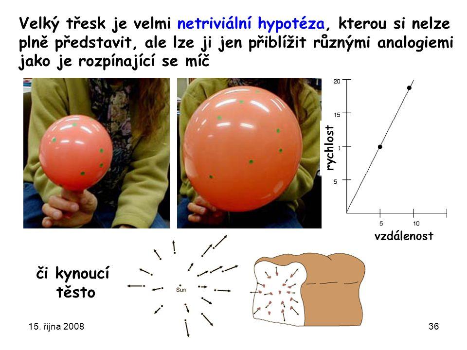 15. října 2008Ústavní semínář FZÚ36 rychlost vzdálenost Velký třesk je velmi netriviální hypotéza, kterou si nelze plně představit, ale lze ji jen při