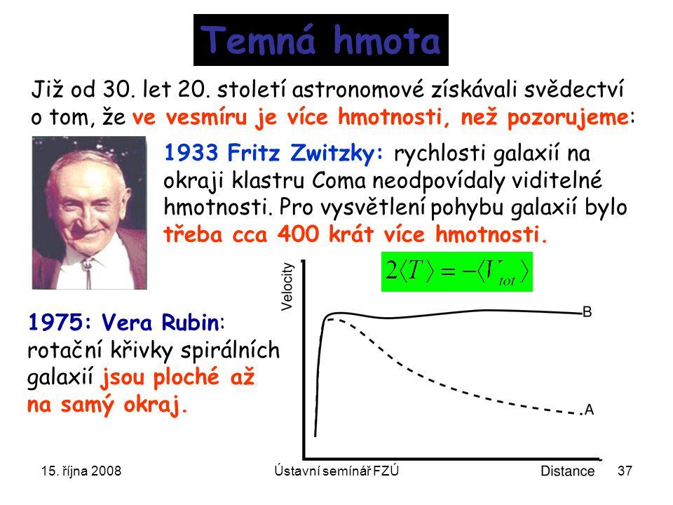 15. října 2008Ústavní semínář FZÚ37 Temná hmota Již od 30. let 20. století astronomové získávali svědectví o tom, že ve vesmíru je více hmotnosti, než