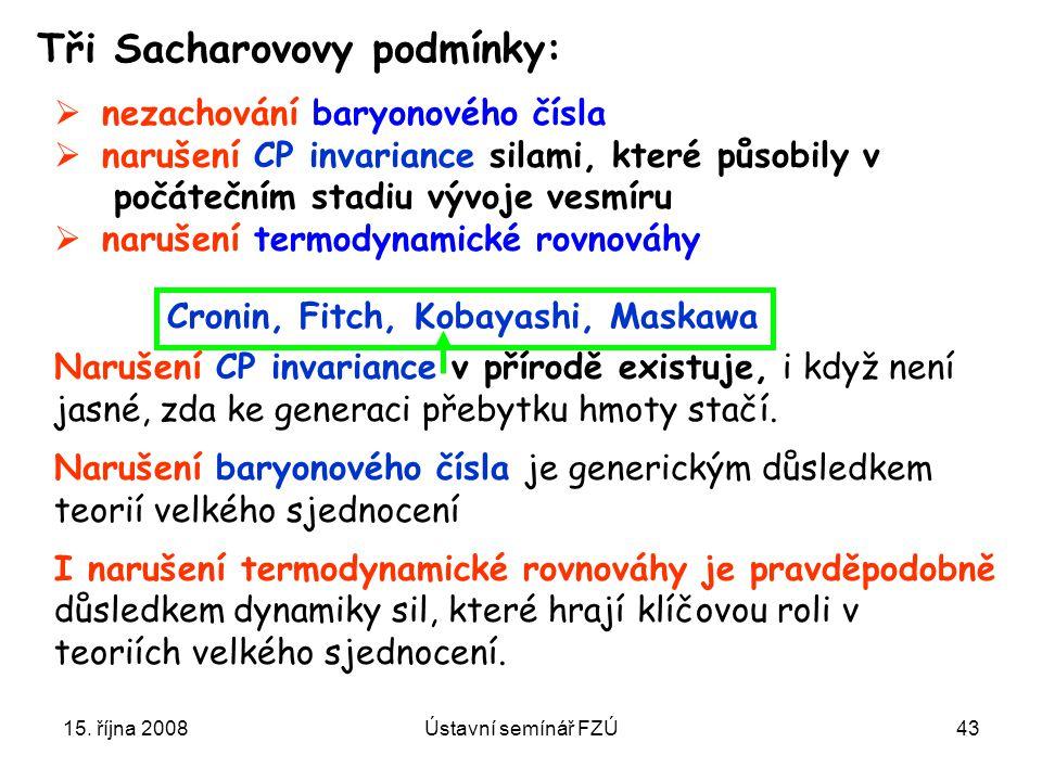 15. října 2008Ústavní semínář FZÚ43 Tři Sacharovovy podmínky: Narušení CP invariance v přírodě existuje, i když není jasné, zda ke generaci přebytku h