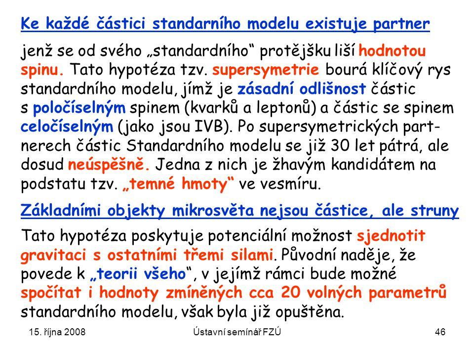 """15. října 2008Ústavní semínář FZÚ46 Ke každé částici standarního modelu existuje partner jenž se od svého """"standardního"""" protějšku liší hodnotou spinu"""