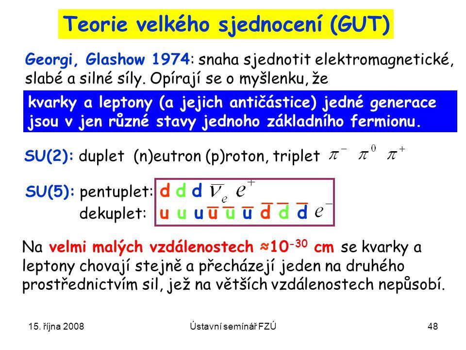 15. října 2008Ústavní semínář FZÚ48 Teorie velkého sjednocení (GUT) kvarky a leptony (a jejich antičástice) jedné generace jsou v jen různé stavy jedn