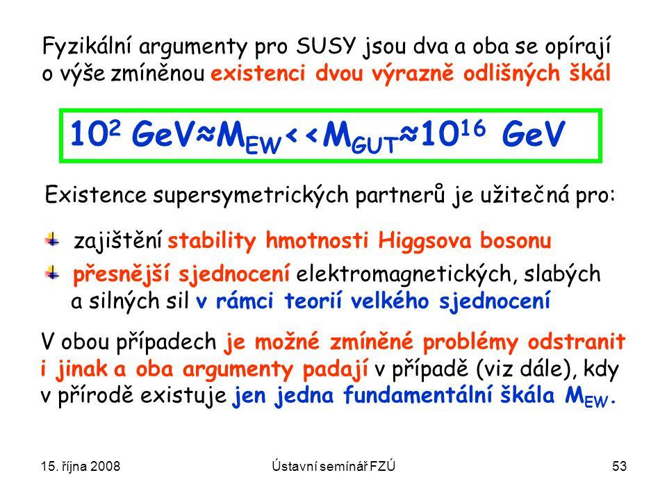 15. října 2008Ústavní semínář FZÚ53 Fyzikální argumenty pro SUSY jsou dva a oba se opírají o výše zmíněnou existenci dvou výrazně odlišných škál 10 2