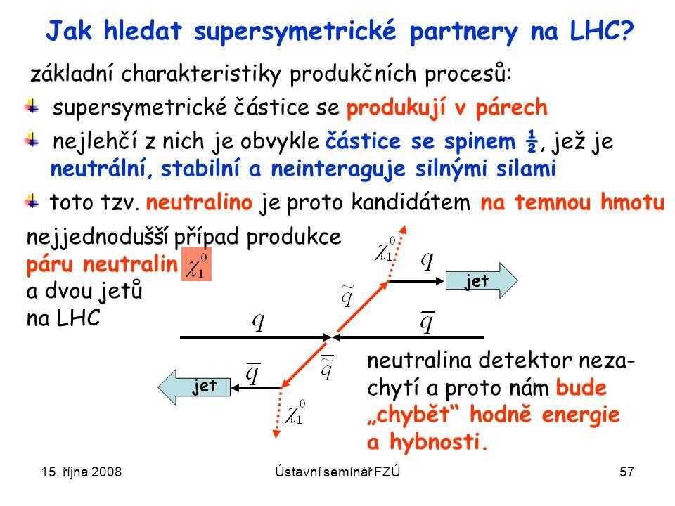 15. října 2008Ústavní semínář FZÚ57 Jak hledat supersymetrické partnery na LHC? supersymetrické částice se produkují v párech nejlehčí z nich je obvyk