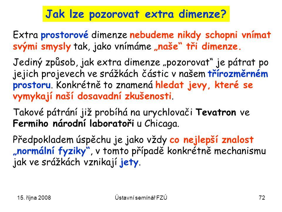 15. října 2008Ústavní semínář FZÚ72 Jak lze pozorovat extra dimenze? Extra prostorové dimenze nebudeme nikdy schopni vnímat svými smysly tak, jako vní