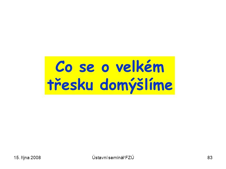 15. října 2008Ústavní semínář FZÚ83 Co se o velkém třesku domýšlíme