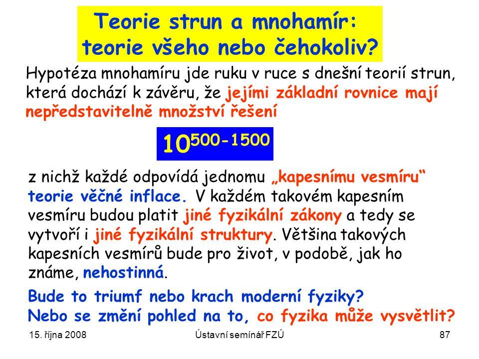 15. října 2008Ústavní semínář FZÚ87 Teorie strun a mnohamír: teorie všeho nebo čehokoliv? Hypotéza mnohamíru jde ruku v ruce s dnešní teorií strun, kt