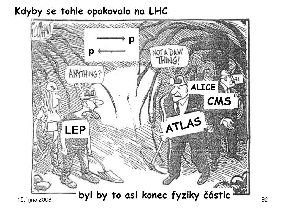 15. října 2008Ústavní semínář FZÚ92 ATLAS ALICE CMS LEP p p Kdyby se tohle opakovalo na LHC byl by to asi konec fyziky částic