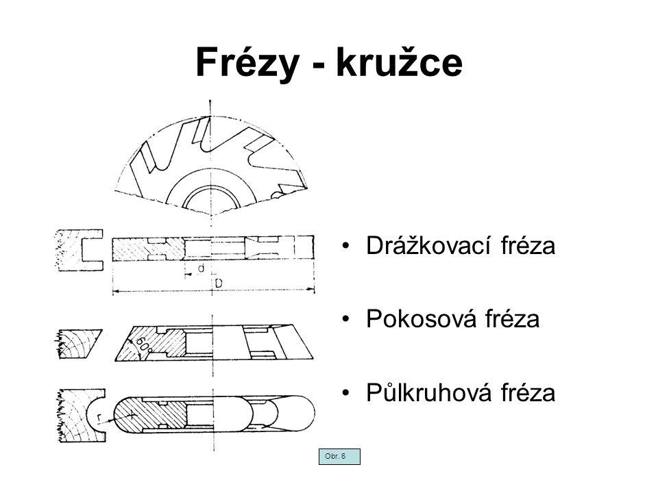 Frézy - kružce Drážkovací fréza Pokosová fréza Půlkruhová fréza Obr. 6