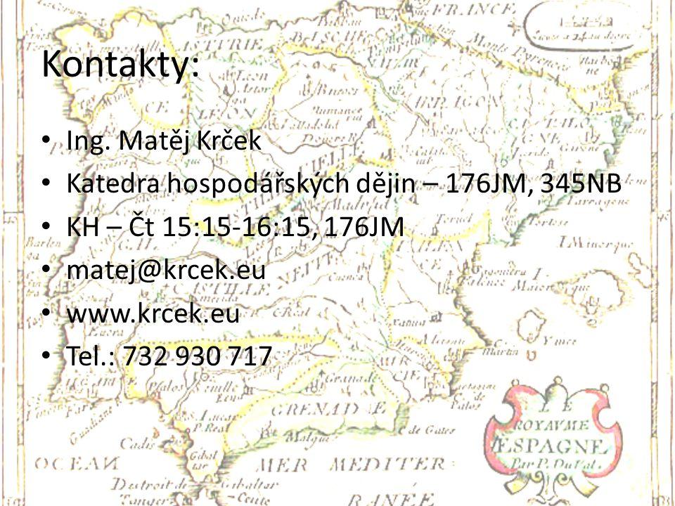 Kontakty: Ing. Matěj Krček Katedra hospodářských dějin – 176JM, 345NB KH – Čt 15:15-16:15, 176JM matej@krcek.eu www.krcek.eu Tel.: 732 930 717