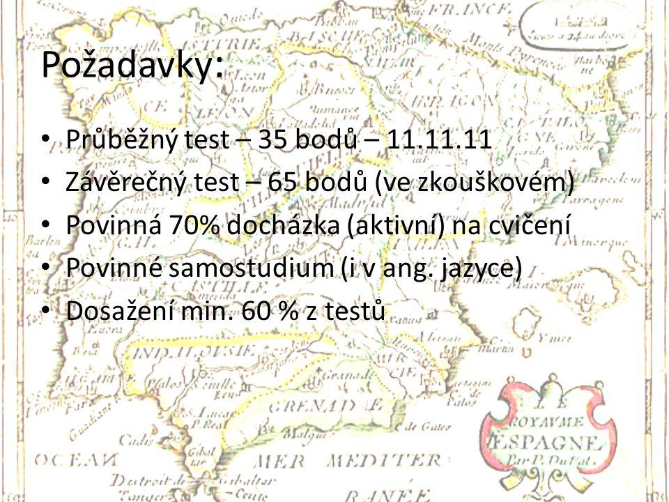Požadavky : Průběžný test – 35 bodů – 11.11.11 Závěrečný test – 65 bodů (ve zkouškovém) Povinná 70% docházka (aktivní) na cvičení Povinné samostudium