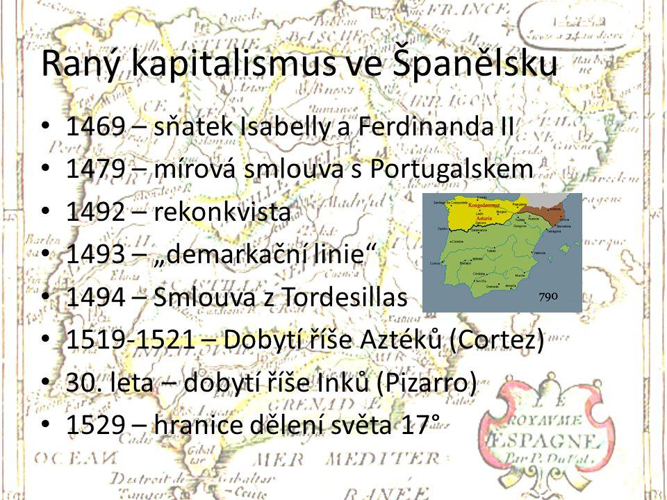 """Raný kapitalismus ve Španělsku 1469 – sňatek Isabelly a Ferdinanda II 1479 – mírová smlouva s Portugalskem 1492 – rekonkvista 1493 – """"demarkační linie"""