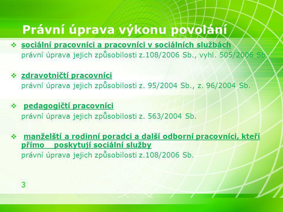 3 Právní úprava výkonu povolání  sociální pracovníci a pracovníci v sociálních službách právní úprava jejich způsobilosti z.108/2006 Sb., vyhl. 505/2