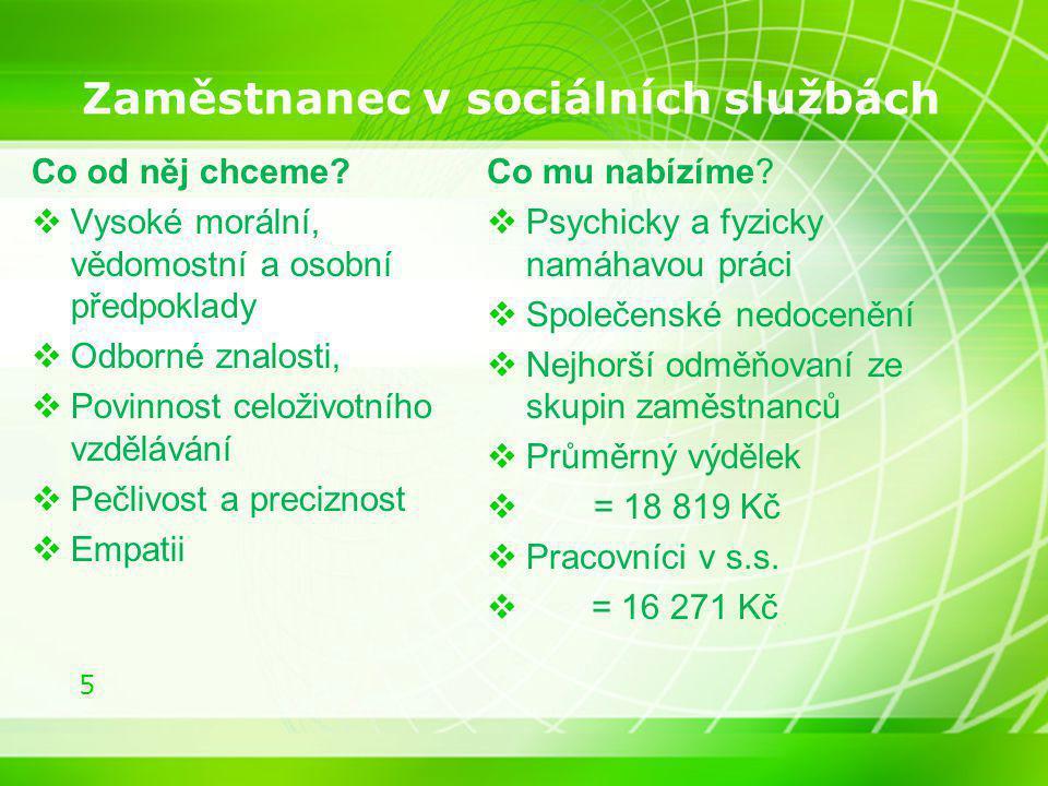 5 Zaměstnanec v sociálních službách Co od něj chceme?  Vysoké morální, vědomostní a osobní předpoklady  Odborné znalosti,  Povinnost celoživotního