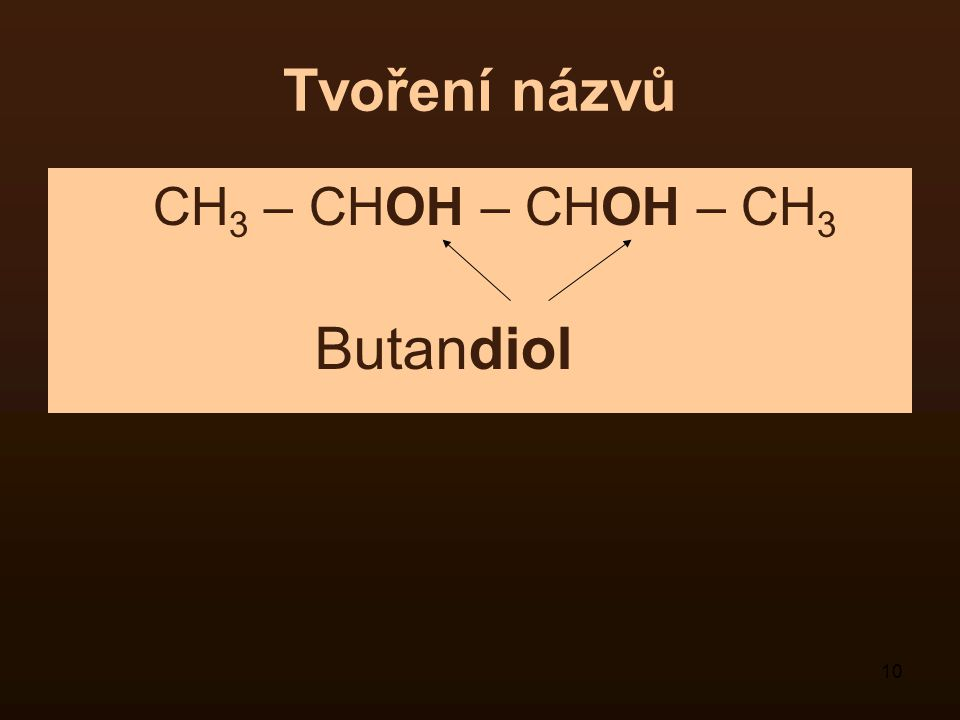 10 Tvoření názvů CH 3 – CHOH – CHOH – CH 3 Butandiol