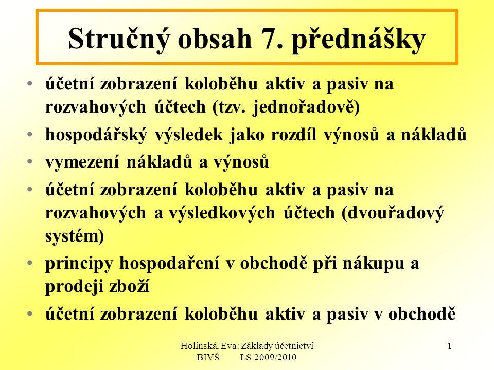 Holínská, Eva: Základy účetnictví BIVŠ LS 2009/2010 1 Stručný obsah 7.