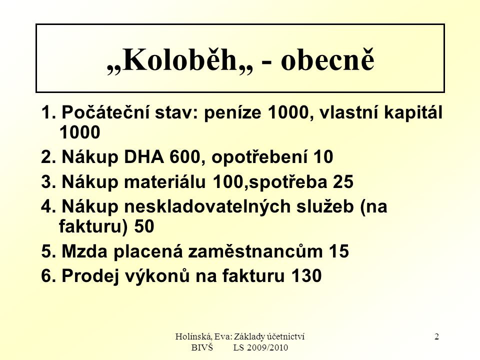 Holínská, Eva: Základy účetnictví BIVŠ LS 2009/2010 23 DHA Peníze Materiál Dodav.