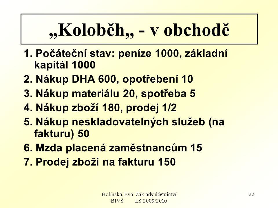 """Holínská, Eva: Základy účetnictví BIVŠ LS 2009/2010 22 """"Koloběh"""" - v obchodě 1."""
