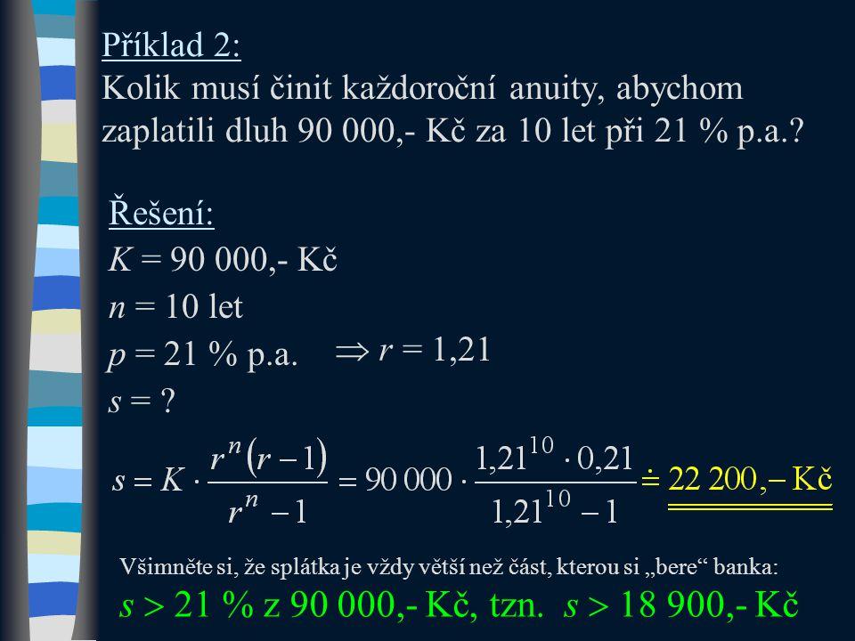 Příklad 2: Kolik musí činit každoroční anuity, abychom zaplatili dluh 90 000,- Kč za 10 let při 21 % p.a.? Řešení: K = 90 000,- Kč n = 10 let p = 21 %