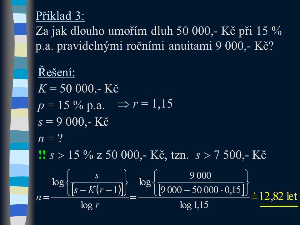 Příklad 3: Za jak dlouho umořím dluh 50 000,- Kč při 15 % p.a. pravidelnými ročními anuitami 9 000,- Kč? Řešení: K = 50 000,- Kč p = 15 % p.a. s = 9 0