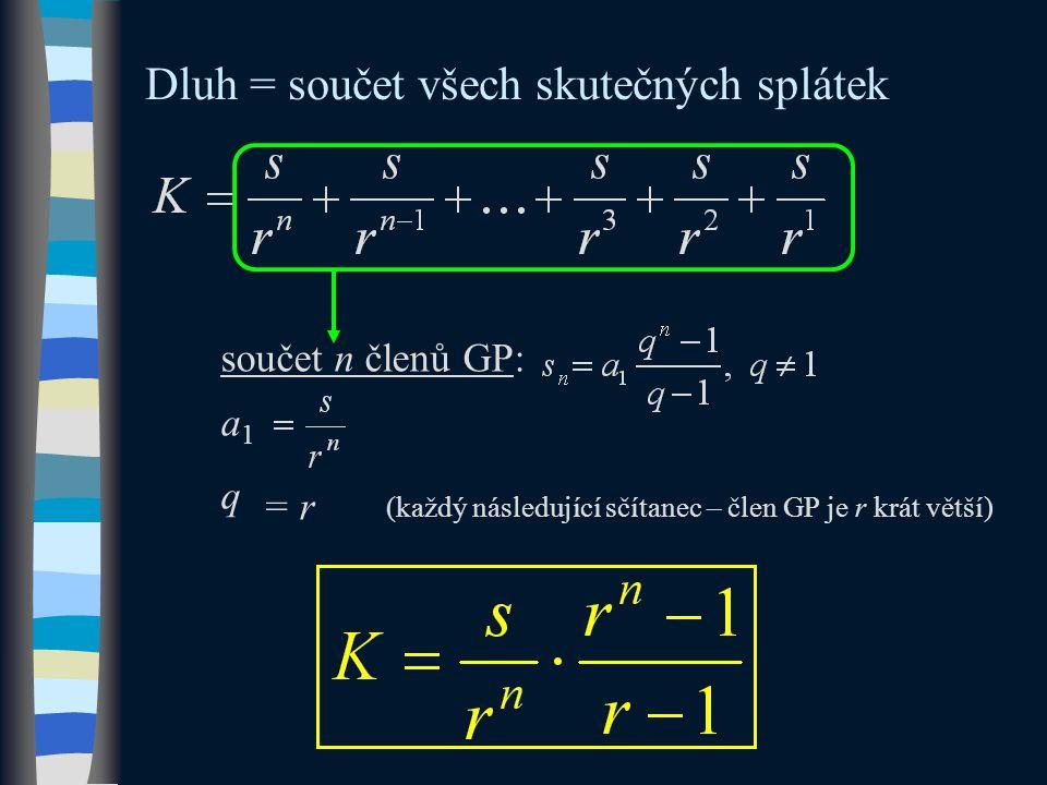 Dluh = součet všech skutečných splátek součet n členů GP: a1a1 q = r (každý následující sčítanec – člen GP je r krát větší)