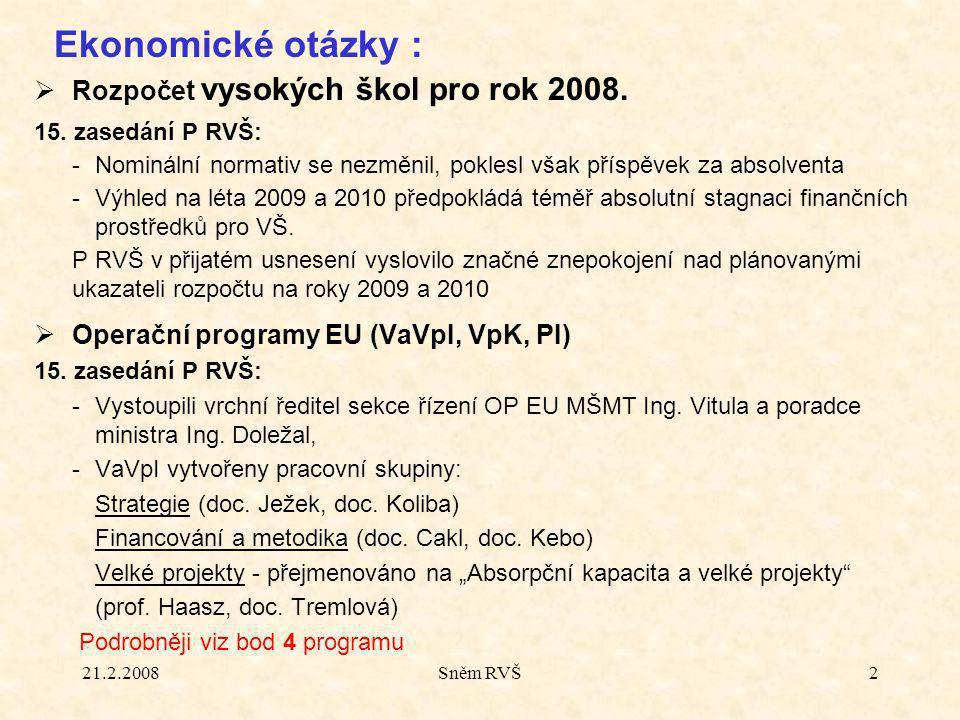 21.2.2008Sněm RVŠ2  Rozpočet vysokých škol pro rok 2008.