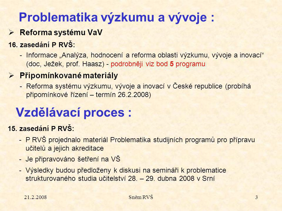 """21.2.2008Sněm RVŠ4  FRVŠ 15.zasedání P RVŠ: schváleno """"Vyhlášení výběrového řřízení FRVŠ pro r."""