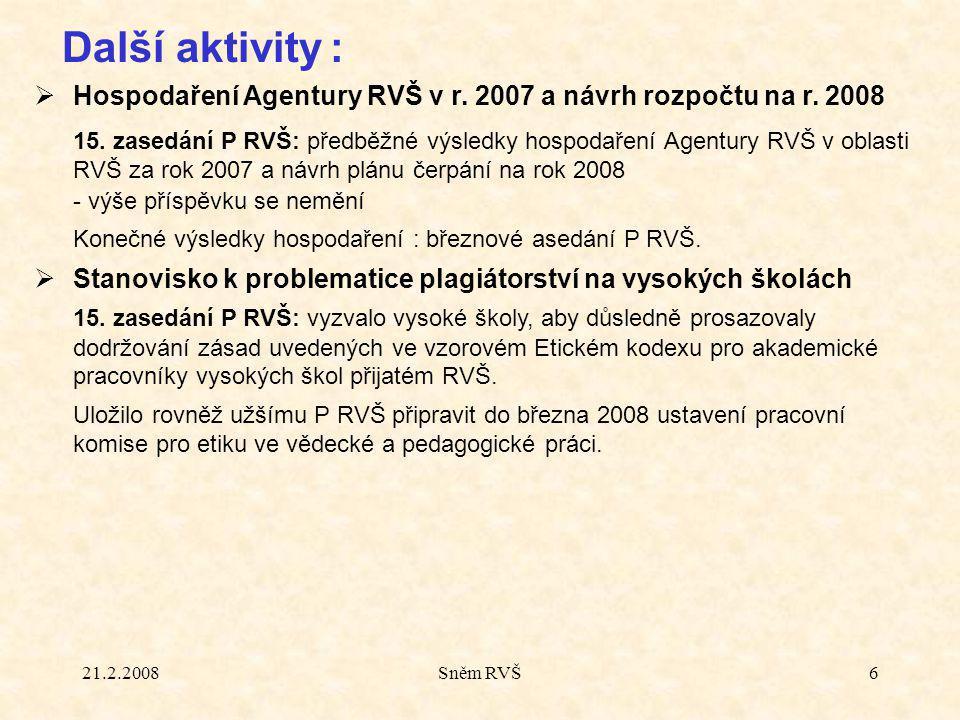 21.2.2008Sněm RVŠ6  Hospodaření Agentury RVŠ v r.