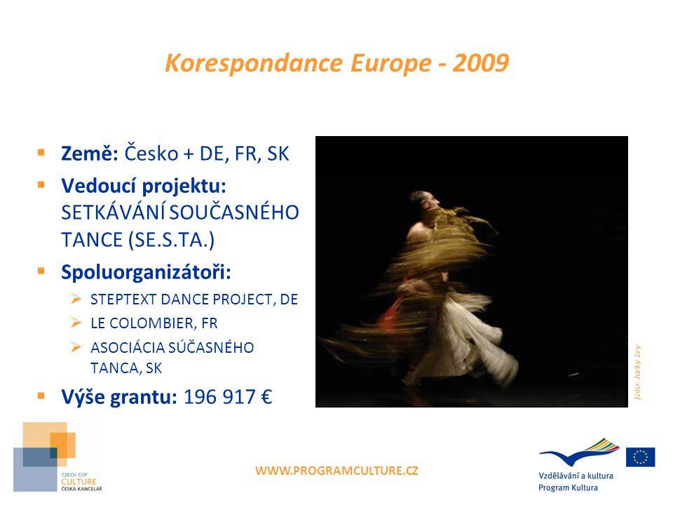 WWW.PROGRAMCULTURE.CZ Korespondance Europe - 2009  Země: Česko + DE, FR, SK  Vedoucí projektu: SETKÁVÁNÍ SOUČASNÉHO TANCE (SE.S.TA.)  Spoluorganizá
