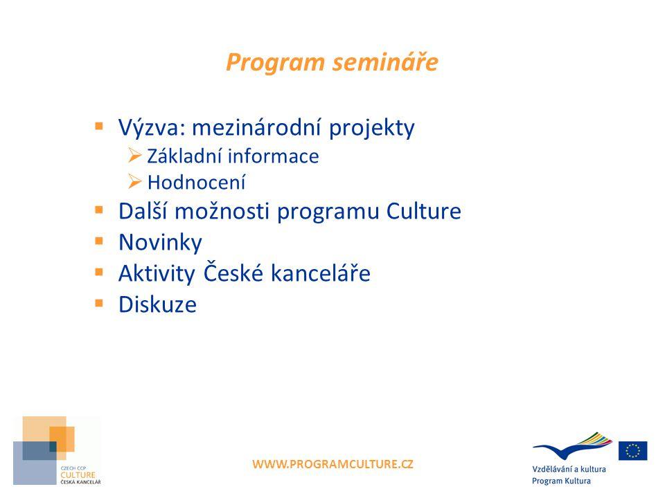 WWW.PROGRAMCULTURE.CZ Program semináře  Výzva: mezinárodní projekty  Základní informace  Hodnocení  Další možnosti programu Culture  Novinky  Ak