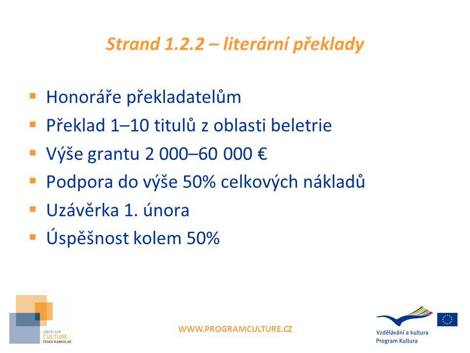 WWW.PROGRAMCULTURE.CZ Strand 1.2.2 – literární překlady  Honoráře překladatelům  Překlad 1–10 titulů z oblasti beletrie  Výše grantu 2 000–60 000 €  Podpora do výše 50% celkových nákladů  Uzávěrka 1.