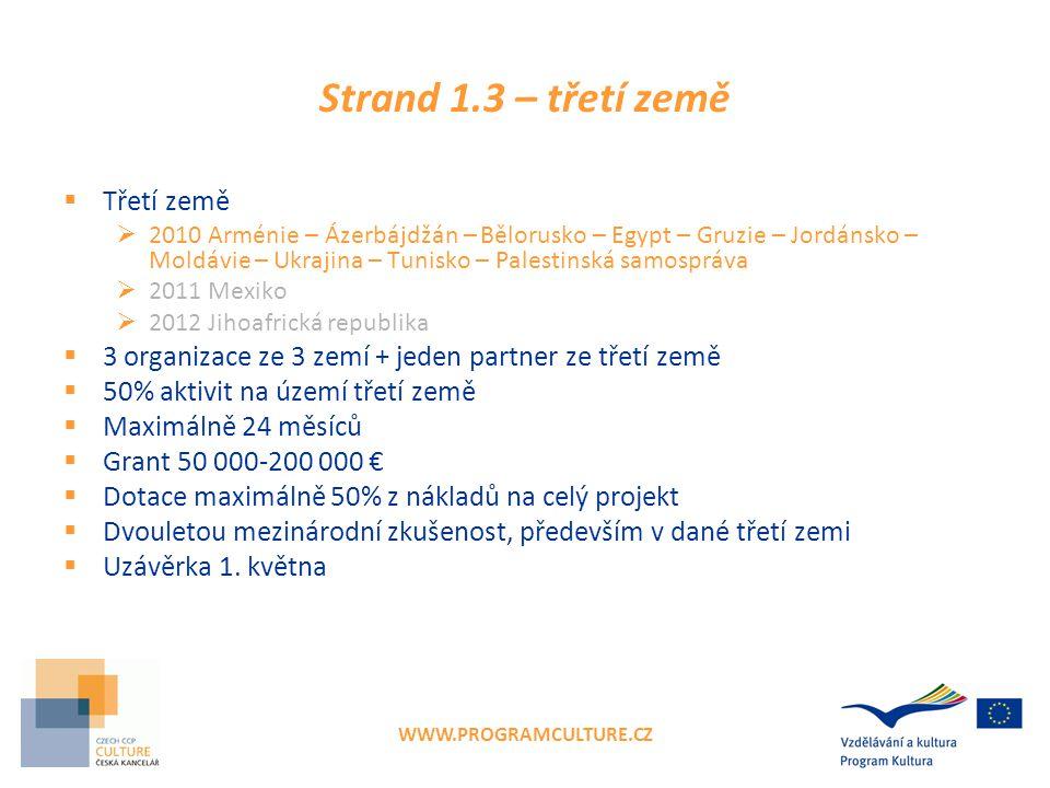 WWW.PROGRAMCULTURE.CZ Strand 1.3 – třetí země  Třetí země  2010 Arménie – Ázerbájdžán – Bělorusko – Egypt – Gruzie – Jordánsko – Moldávie – Ukrajina