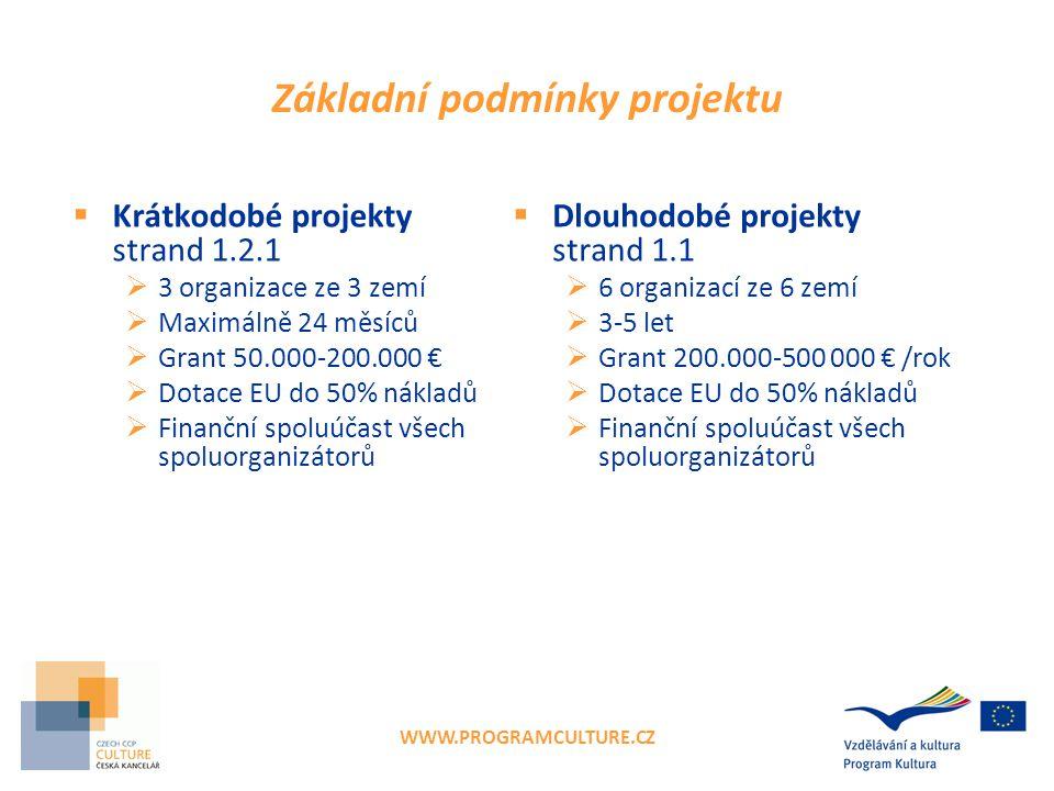 WWW.PROGRAMCULTURE.CZ Základní podmínky projektu  Krátkodobé projekty strand 1.2.1  3 organizace ze 3 zemí  Maximálně 24 měsíců  Grant 50.000-200.000 €  Dotace EU do 50% nákladů  Finanční spoluúčast všech spoluorganizátorů  Dlouhodobé projekty strand 1.1  6 organizací ze 6 zemí  3-5 let  Grant 200.000-500 000 € /rok  Dotace EU do 50% nákladů  Finanční spoluúčast všech spoluorganizátorů