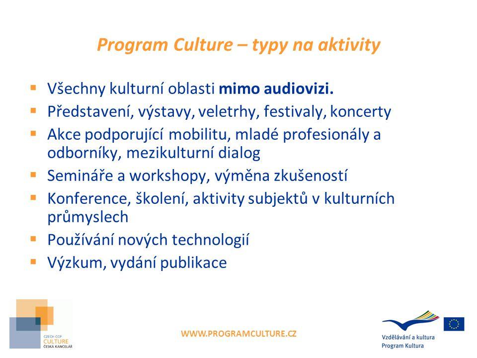 WWW.PROGRAMCULTURE.CZ Program Culture – typy na aktivity  Všechny kulturní oblasti mimo audiovizi.  Představení, výstavy, veletrhy, festivaly, konce
