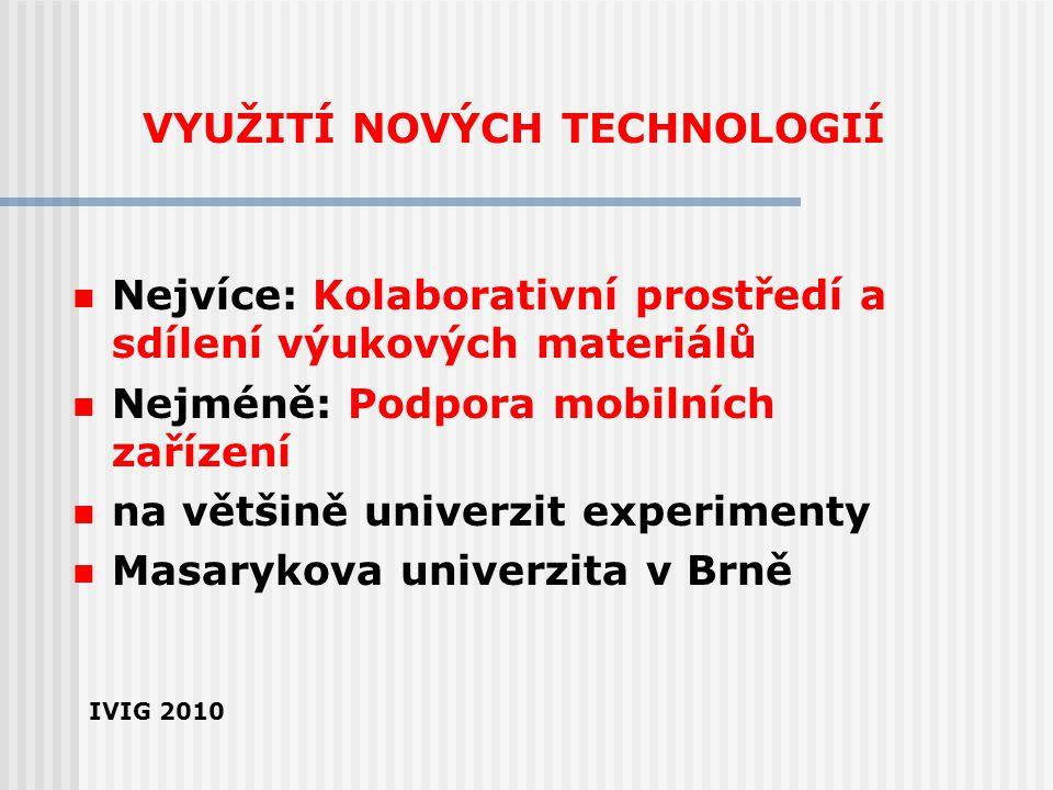 VYUŽITÍ NOVÝCH TECHNOLOGIÍ Nejvíce: Kolaborativní prostředí a sdílení výukových materiálů Nejméně: Podpora mobilních zařízení na většině univerzit exp