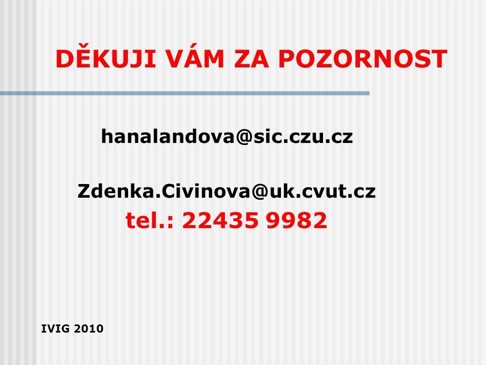 DĚKUJI VÁM ZA POZORNOST hanalandova@sic.czu.cz Zdenka.Civinova@uk.cvut.cz tel.: 22435 9982 IVIG 2010