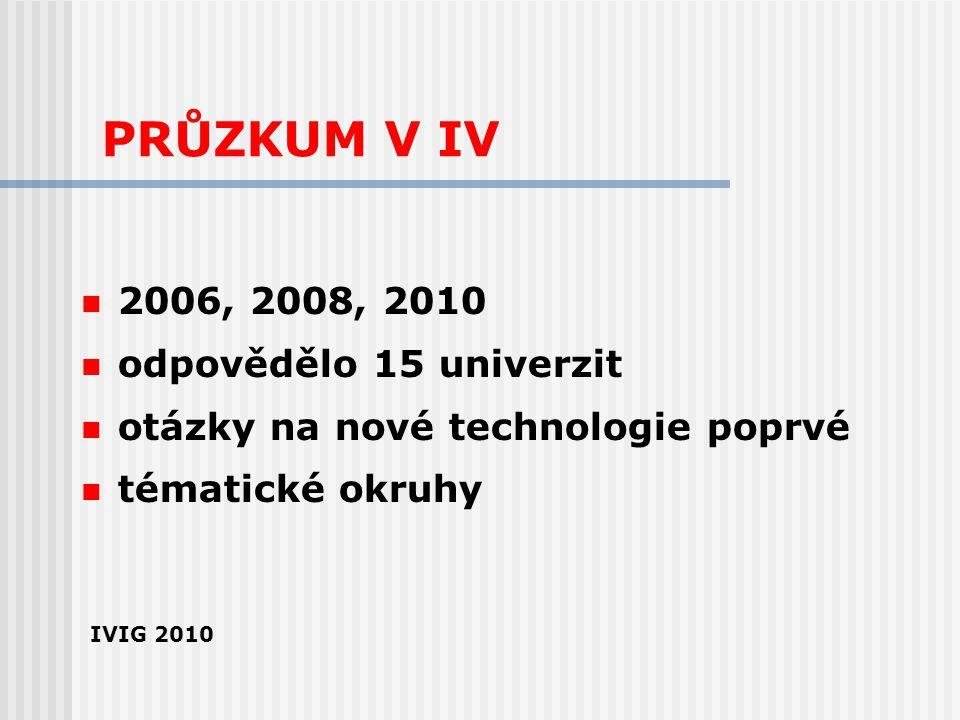 PRŮZKUM V IV 2006, 2008, 2010 odpovědělo 15 univerzit otázky na nové technologie poprvé tématické okruhy IVIG 2010