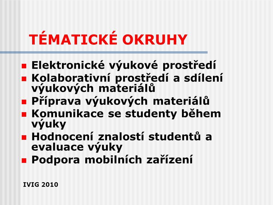 TÉMATICKÉ OKRUHY Elektronické výukové prostředí Kolaborativní prostředí a sdílení výukových materiálů Příprava výukových materiálů Komunikace se stude