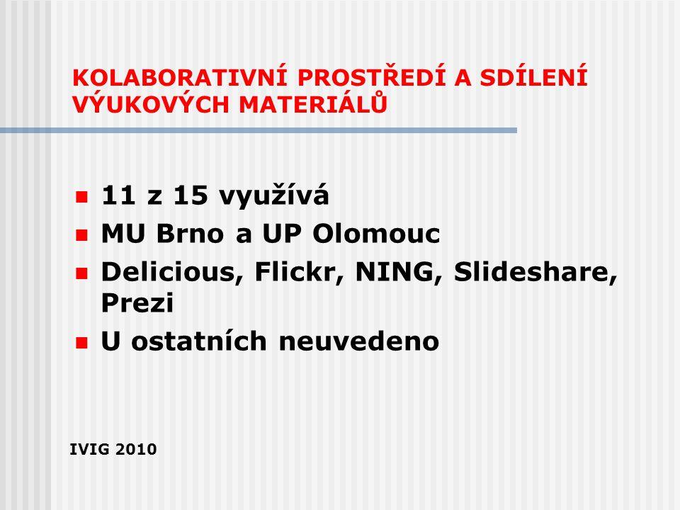 KOLABORATIVNÍ PROSTŘEDÍ A SDÍLENÍ VÝUKOVÝCH MATERIÁLŮ 11 z 15 využívá MU Brno a UP Olomouc Delicious, Flickr, NING, Slideshare, Prezi U ostatních neuv