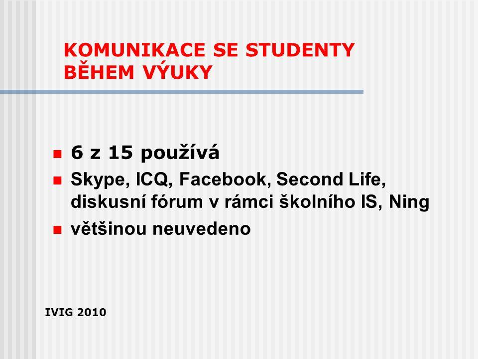KOMUNIKACE SE STUDENTY BĚHEM VÝUKY 6 z 15 používá Skype, ICQ, Facebook, Second Life, diskusní fórum v rámci školního IS, Ning většinou neuvedeno IVIG