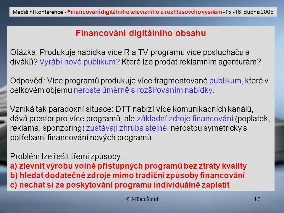 © Milan Šmíd17 Financování digitálního obsahu Otázka: Produkuje nabídka více R a TV programů více posluchačů a diváků.