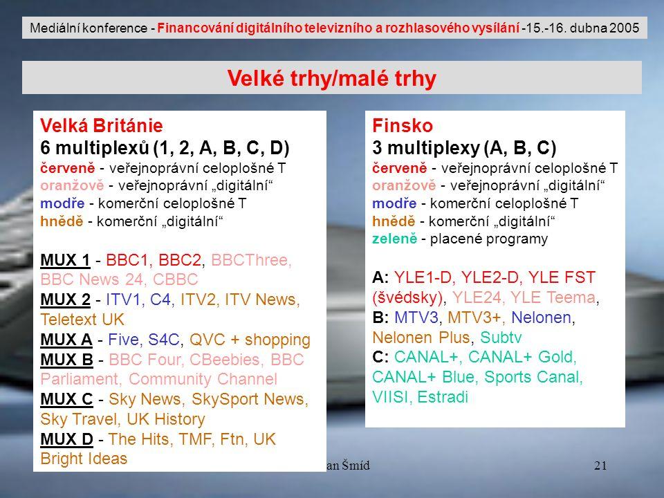 © Milan Šmíd21 Velké trhy/malé trhy Mediální konference - Financování digitálního televizního a rozhlasového vysílání -15.-16.