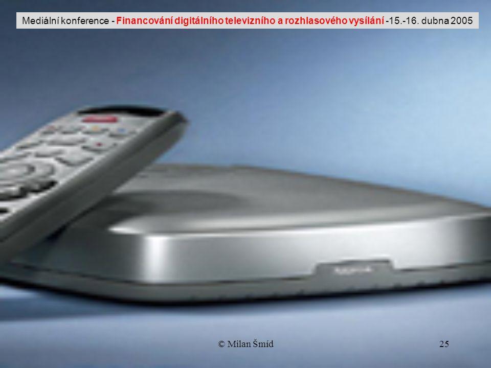 © Milan Šmíd25 Mediální konference - Financování digitálního televizního a rozhlasového vysílání -15.-16.