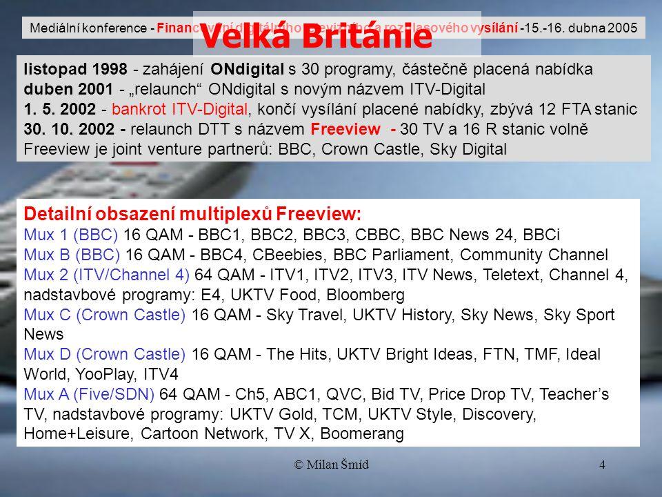 """© Milan Šmíd4 listopad 1998 - zahájení ONdigital s 30 programy, částečně placená nabídka duben 2001 - """"relaunch ONdigital s novým názvem ITV-Digital 1."""