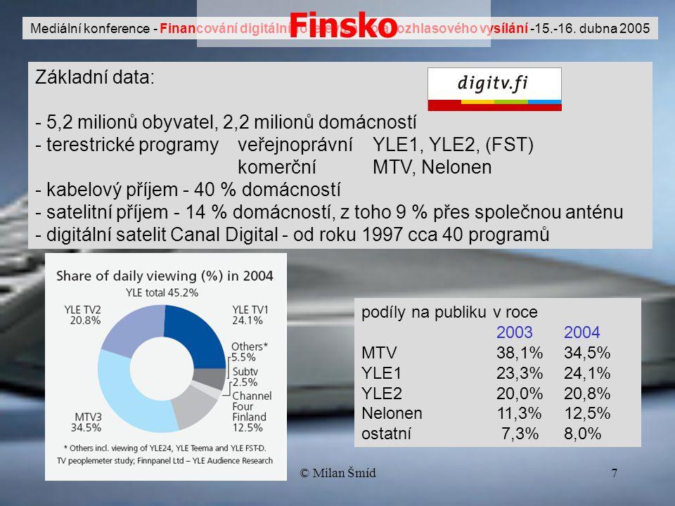 © Milan Šmíd7 Základní data: - 5,2 milionů obyvatel, 2,2 milionů domácností - terestrické programy veřejnoprávníYLE1, YLE2, (FST) komerčníMTV, Nelonen - kabelový příjem - 40 % domácností - satelitní příjem - 14 % domácností, z toho 9 % přes společnou anténu - digitální satelit Canal Digital - od roku 1997 cca 40 programů podíly na publiku v roce 20032004 MTV 38,1%34,5% YLE1 23,3%24,1% YLE220,0%20,8% Nelonen11,3%12,5% ostatní 7,3%8,0% Mediální konference - Financování digitálního televizního a rozhlasového vysílání -15.-16.