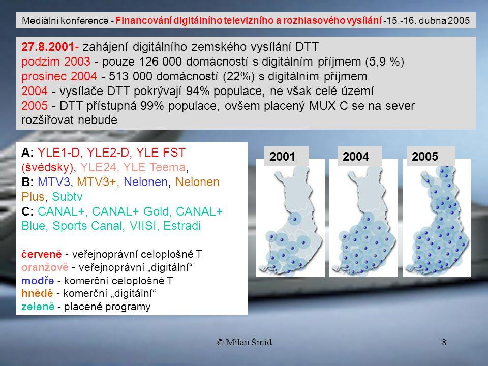 © Milan Šmíd8 27.8.2001- zahájení digitálního zemského vysílání DTT podzim 2003 - pouze 126 000 domácností s digitálním příjmem (5,9 %) prosinec 2004 - 513 000 domácností (22%) s digitálním příjmem 2004 - vysílače DTT pokrývají 94% populace, ne však celé území 2005 - DTT přístupná 99% populace, ovšem placený MUX C se na sever rozšiřovat nebude 200120042005 Mediální konference - Financování digitálního televizního a rozhlasového vysílání -15.-16.