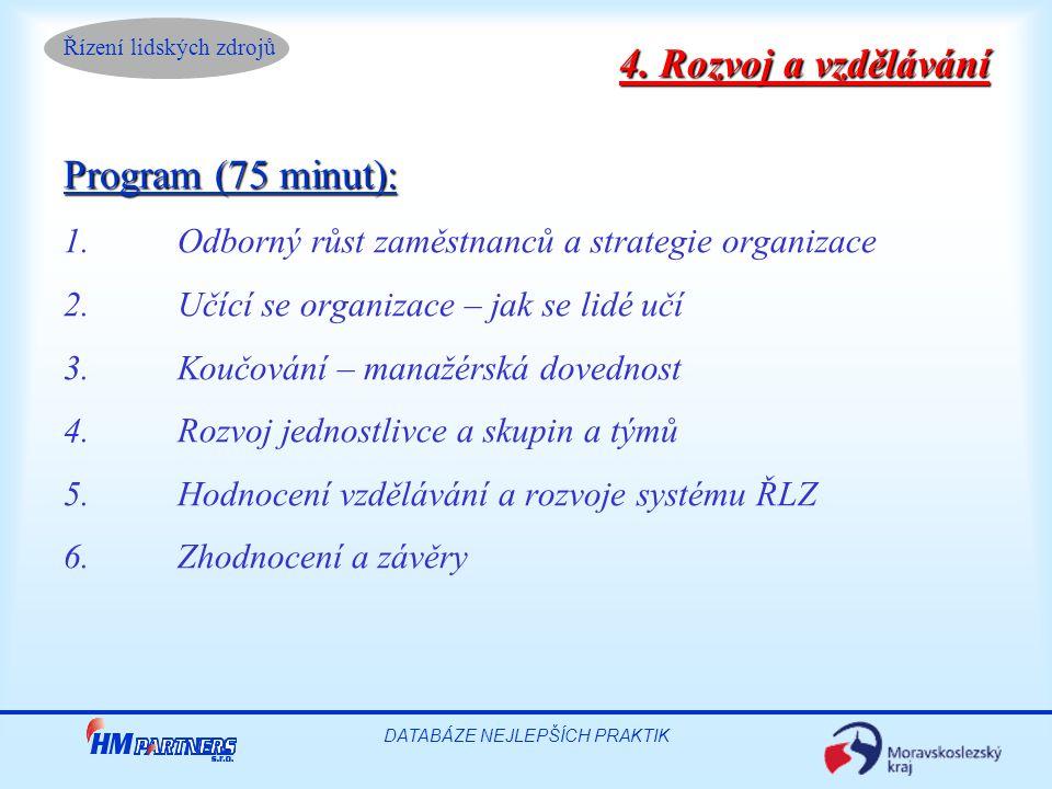 Řízení lidských zdrojů DATABÁZE NEJLEPŠÍCH PRAKTIK Program (75 minut): 1.Odborný růst zaměstnanců a strategie organizace 2.Učící se organizace – jak s